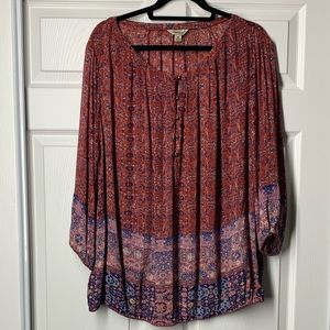 Lucky Brand border multi color half buttoned top